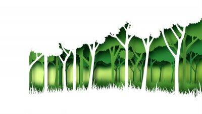 Sticker Modèle de fond de forêt nature vert Eco. Plantation forestière avec conservation de l'écologie et l'environnement idée créative concept papier art style. Illustration vectorielle.