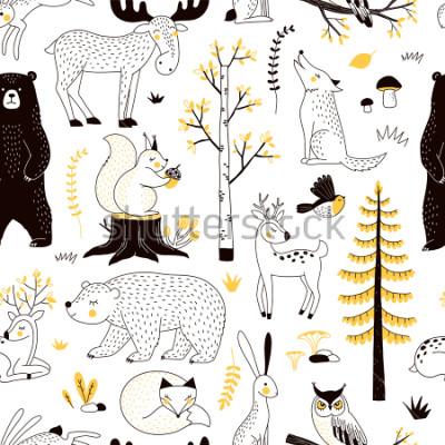 Sticker modèle de forêt d'automne