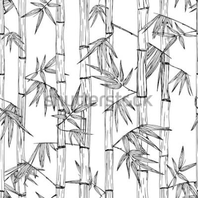 Sticker Modèle de forêt de bambous sans soudure de vecteur. Fond de croquis dessiné main noir et blanc. Design pour les imprimés de mode, les spas et massages asiatiques, les emballages cosmétiques, les matér