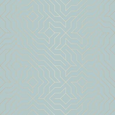 Sticker Modèle de ligne dorée géométrique transparente sans vecteur. Texture de cuivre de fond abstrait sur le vert bleu. Impression graphique minimaliste simple. Grille de treillis turquoise moderne. Géométr