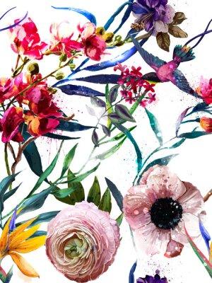 Sticker modèle de mode floral exotique sans soudure