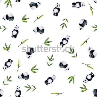 Sticker Modèle de pandas et de bambou sur fond blanc. Aquarelle peinte à la main