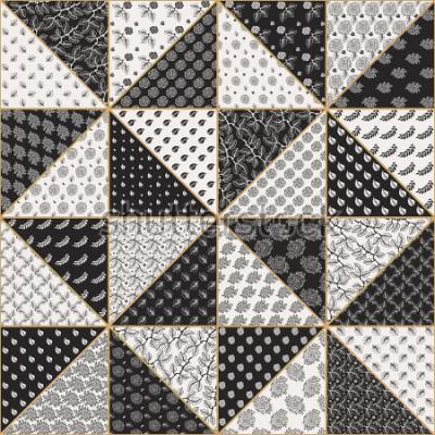 Sticker Modèle de patchwork sans soudure abstraite de vecteur de triangles beiges noirs et légers avec des ornements floraux, des feuilles et des fleurs roses stylisées. Ligne fine contour doré. Impression te
