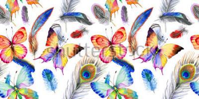 Sticker Modèle de plume d'oiseau aquarelle de l'aile. Aquarelles Fleur sauvage pour le fond, la texture, le motif enveloppant, le cadre ou la bordure.