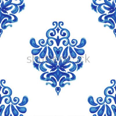 Sticker Modèle de tuile abstraite transparent peinture ornementale aquarelle pour tissu