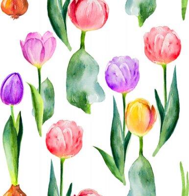Sticker modèle de tulipe sans soudure sur fond blanc