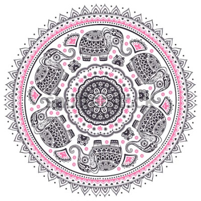 Sticker Modèle de vecteur graphique Vintage modèle de mandala éléphant ethnique mignon de lotus indien. Ornement tribal africain. Peut être utilisé pour un livre de coloriage, du textile, des estampes, un étu
