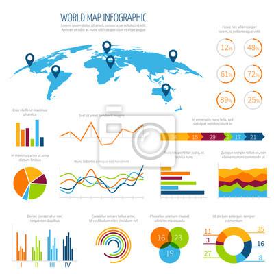 Modele De Vecteur Infographique Moderne Avec Carte Et Graphiques Autocollants Murales Infographique Analyse Visualisation Myloview Fr