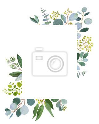 Sticker Modèle de verdure de mariage. Illustration aquarelle avec eucalyptus.