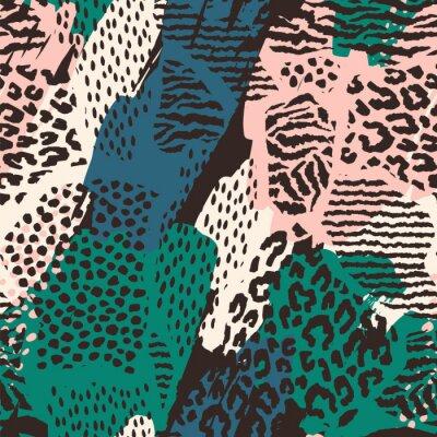 Sticker Modèle sans couture abstraite avec impression d'animaux.