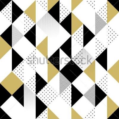 Sticker Modèle sans couture abstraite. Seamless Pattern avec Triangles. Modèle triangle noir et blanc or. Illustration vectorielle