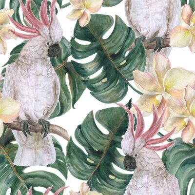 Sticker Modèle sans couture aquarelle avec des feuilles de deliciosa tropicales, fleurs de plumeria et cacatoès