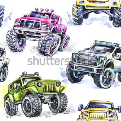 Sticker Modèle sans couture aquarelle Cartoon Monster Trucks. Fond coloré de sports extrêmes. 4x4. Véhicule SUV hors route. Mode de vie. Passe-temps de l'homme.