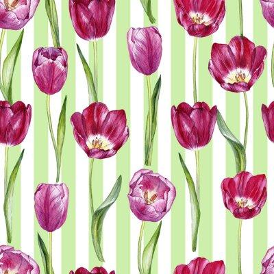 Sticker modèle sans couture aquarelle dessinés à la main avec des tulipes