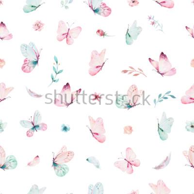 Sticker Modèle sans couture aquarelle Licorne mignon avec des fleurs. Patrons de licorne magiques de pépinière. Texture arc en ciel princesse. Cheval de poney dessin animé rose à la mode.