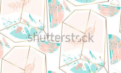 Sticker Modèle sans couture artistique abstrait de vecteur dessiné à la main avec cristal de terrarium et brunch en ou pastel et couleurs bleu tiffany isolés sur fond blanc. Fond artistique polygonal.