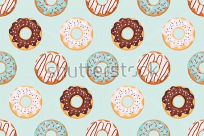 Sticker Modèle sans couture avec beignets glacés. Couleurs bleu et chocolat. Girly. Pour impression et web.