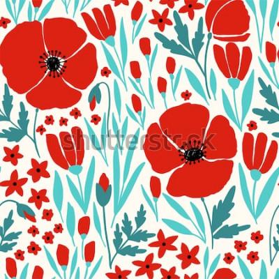 Sticker Modèle sans couture avec des fleurs de pavot rouges