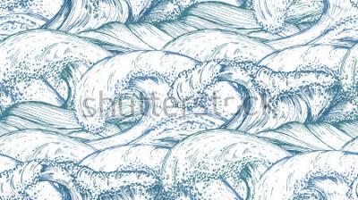 Sticker Modèle sans couture avec des vagues de la mer dessinés à la main dans le style de croquis. Fond sans fin de vecteur dans les couleurs bleus.