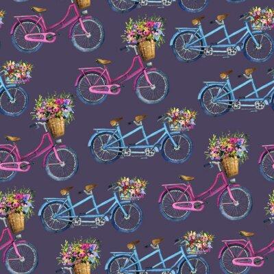 Sticker modèle sans couture avec des vélos et des fleurs