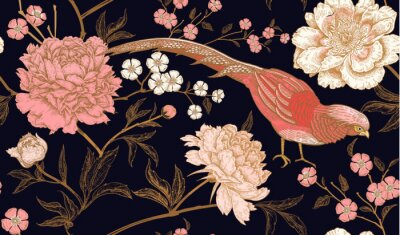 Sticker Modèle sans couture avec faisans d'oiseaux exotiques et fleurs de pivoine.