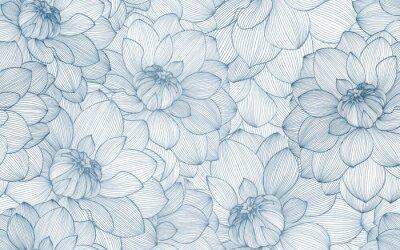Sticker Modèle sans couture avec fleurs de dahlia dessinés à la main.