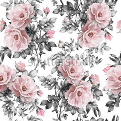 Sticker Modèle sans couture avec fleurs roses et feuilles sur fond blanc, motif floral aquarelle, fleur rose pastel, motif de fleurs sans soudure pour fond d'écran, carte ou tissu