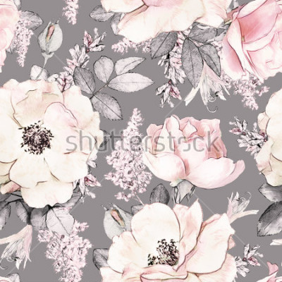 Sticker Modèle sans couture avec fleurs roses et feuilles sur fond gris, motif aquarelle floral, fleur est passée dans la couleur pastel, mosaïque pour papier peint, carte ou tissu