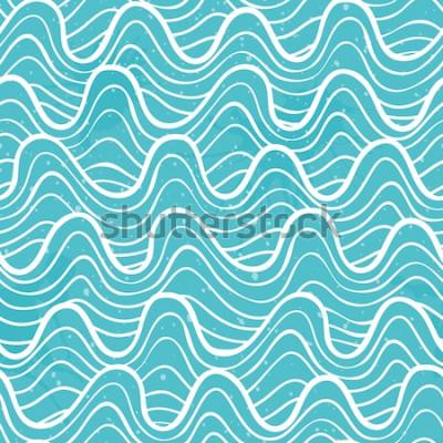Sticker Modèle sans couture avec les vagues de l'océan dans un style décoratif. Illustration vectorielle