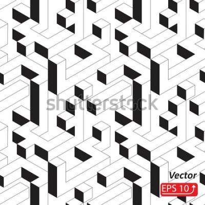 Sticker Modèle sans couture avec maisons, bâtiments, ville, ville de style isométrique. Illustration vectorielle fond noir et blanc abstrait 3d