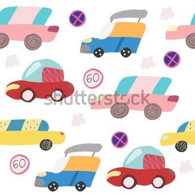 Sticker Modèle sans couture avec voiture dessiné sur la route. Style scandinave pour les enfants. Illustration de dessin animé