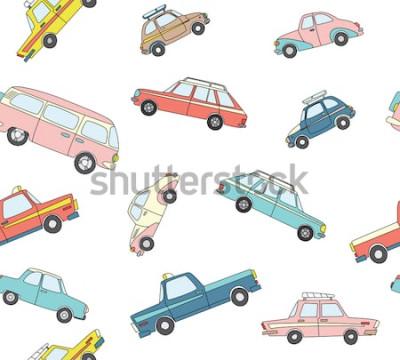 Sticker Modèle sans couture avec voitures dessinées à la main rétro mignon