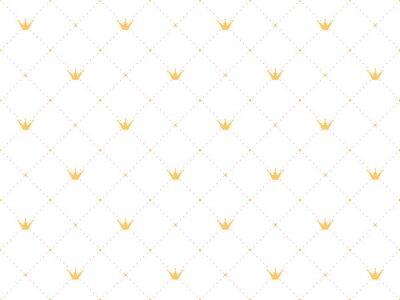 Sticker Modèle sans couture dans un style rétro avec une couronne en or et des pois roses sur fond blanc. Papier peint mignon pour les petites princesses.