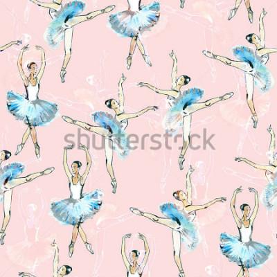 Sticker Modèle sans couture de danseurs de ballet, dessin noir, blanc et argent, aquarelles, isolé sur fond rose.