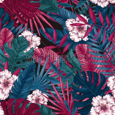 Sticker Modèle sans couture de feuilles et de fleurs exotiques. Fond floral tropical. Illustration vectorielle