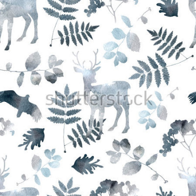 Sticker Modèle sans couture de forêt du nord avec le cerf, les oiseaux, les éléments de la feuille. Aquarelle dessiné à la main