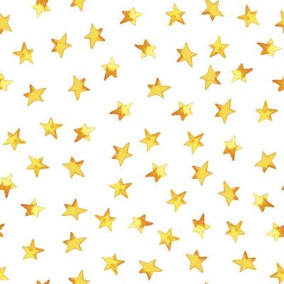 Sticker Modèle sans couture de main dessin des étoiles simples jaunes en dessin animé dessin enfantin sur fond blanc