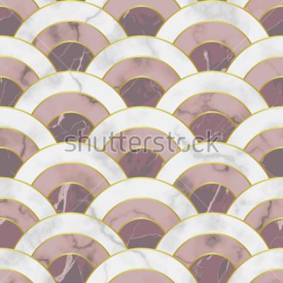 Sticker Modèle sans couture de marbre vague. Résumé géométrique répéter. Toile de fond traditionnel asiatique, papier peint de luxe avec lignes dorées, imprimé textile rose et blanc, carrelage intérieur.