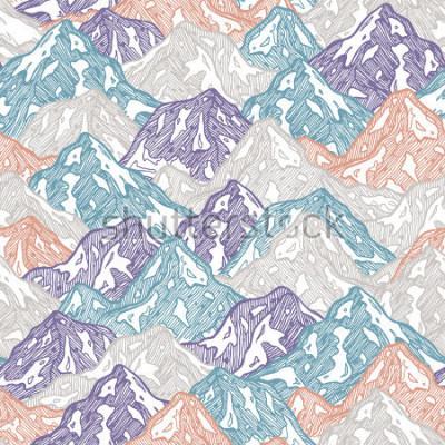 Sticker Modèle sans couture de montagnes. Illustration amusante de gamin de montagnes. Illustration vectorielle