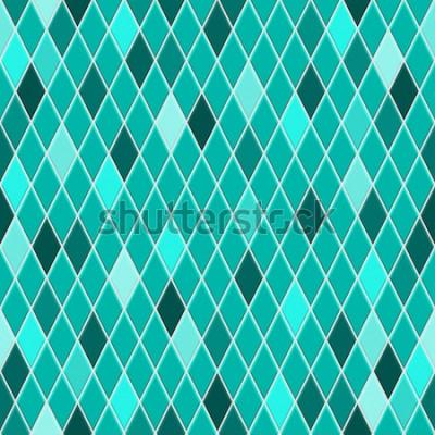 Sticker Modèle sans couture de petits losanges aux couleurs turquoises avec des losanges colorés