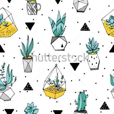 Sticker Modèle sans couture de terrarium. Texture de plantes succulentes. Illustration minimaliste dessinée à la main. Design scandinave avec des éléments floraux et géométriques