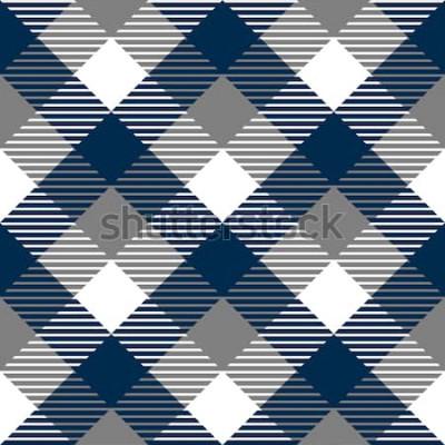 Sticker Modèle sans couture de tissu à carreaux vichy en gris bleu et blanc, vecteur
