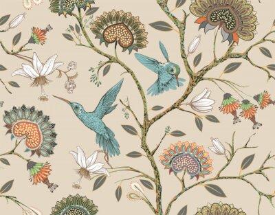 Sticker Modèle sans couture de vecteur avec des fleurs stylisées et des oiseaux. Jardin de fleurs avec des colibris et des plantes. Papier peint floral léger. Conception pour tissu, textile, papier peint, cou
