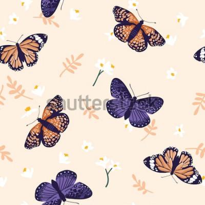 Sticker Modèle sans couture de vecteur avec des papillons lumineux. Dessin de texture dessiné à la main