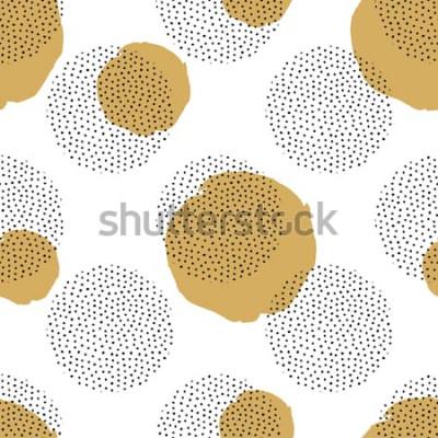 Sticker Modèle sans couture de vecteur avec éléments en pointillés ronds et cercles dorés. Fond de memphis à la mode.