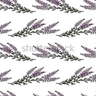 Sticker Modèle sans couture de vecteur avec les branches de bruyère dessinés à la main. De beaux éléments de design floral, parfaits pour les impressions et les motifs.