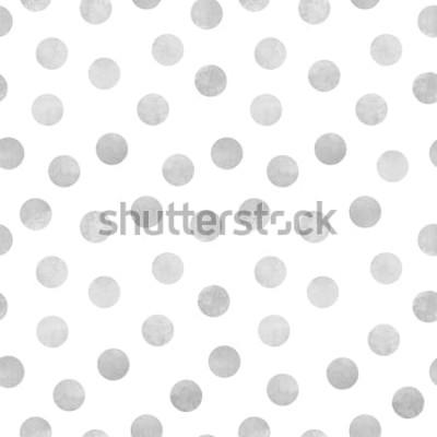Sticker Modèle sans couture de vecteur d'aquarelle gris cercles sur fond blanc
