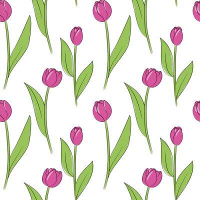 Sticker modèle sans couture de vecteur rose tulipe simple fleurs
