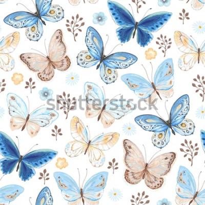 Sticker Modèle sans couture de voler des couleurs bleues, jaunes et marron de papillons. Illustration vectorielle dans un style vintage sur fond blanc.