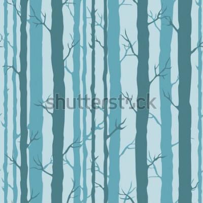 Sticker Modèle sans couture décoratif avec des troncs d'arbres. Ornement sans fin avec des tiges turquoises sombres des arbres sur fond bleu. Fond d'arbre élégant pour l'emballage, papier peint.